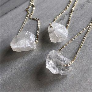 Raw Clear Quartz Crystal 14K Gold Plated Chain